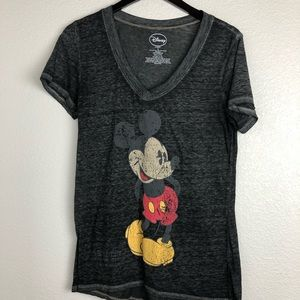🌼 Disney Mickey Mouse gray Burn out T-shirt